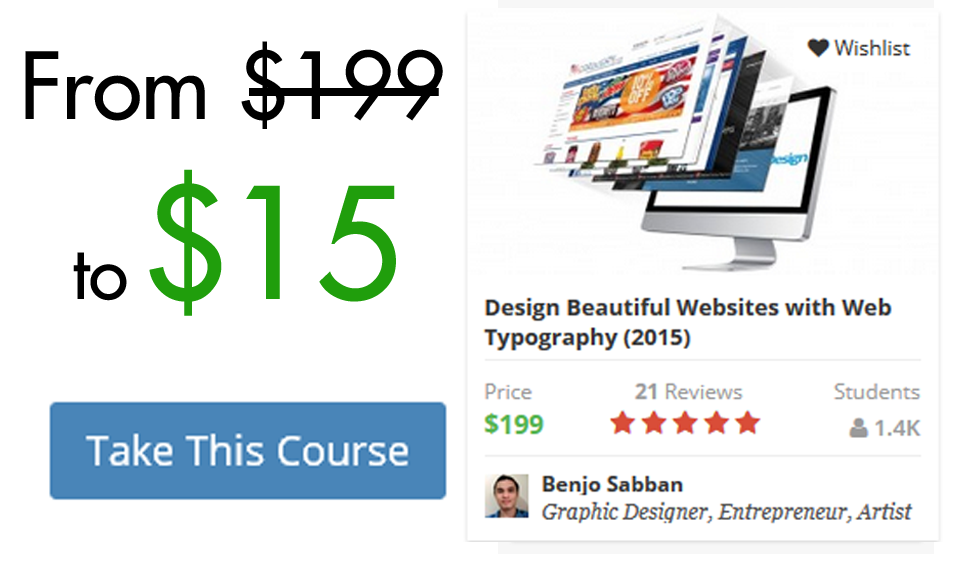 Design Beautiful Websites with Web Typography (2015) 93% OFF Coupon