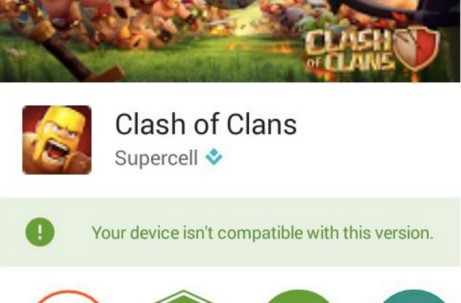 Clash of clans Device isn't supported