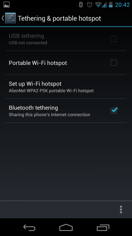 Share android mobile data via Bluetooth