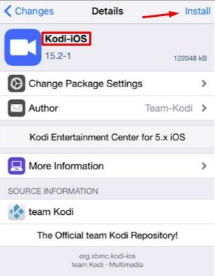 install kodi jarvis 16.1 in ipad iphone