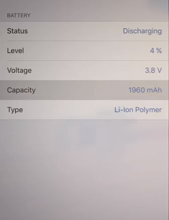 battery stats of iphone 7