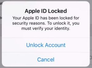 apple id locked for security reasons fix
