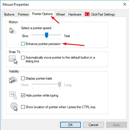 how to disable mouse acceleration completely on windows 10